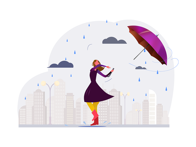 Woman with Broken Umbrella