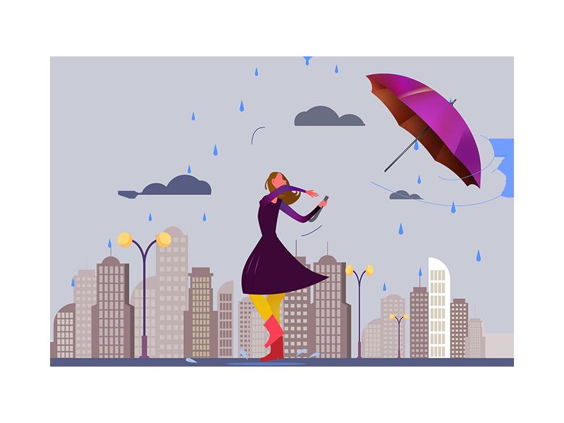 Woman with Broken Umbrella